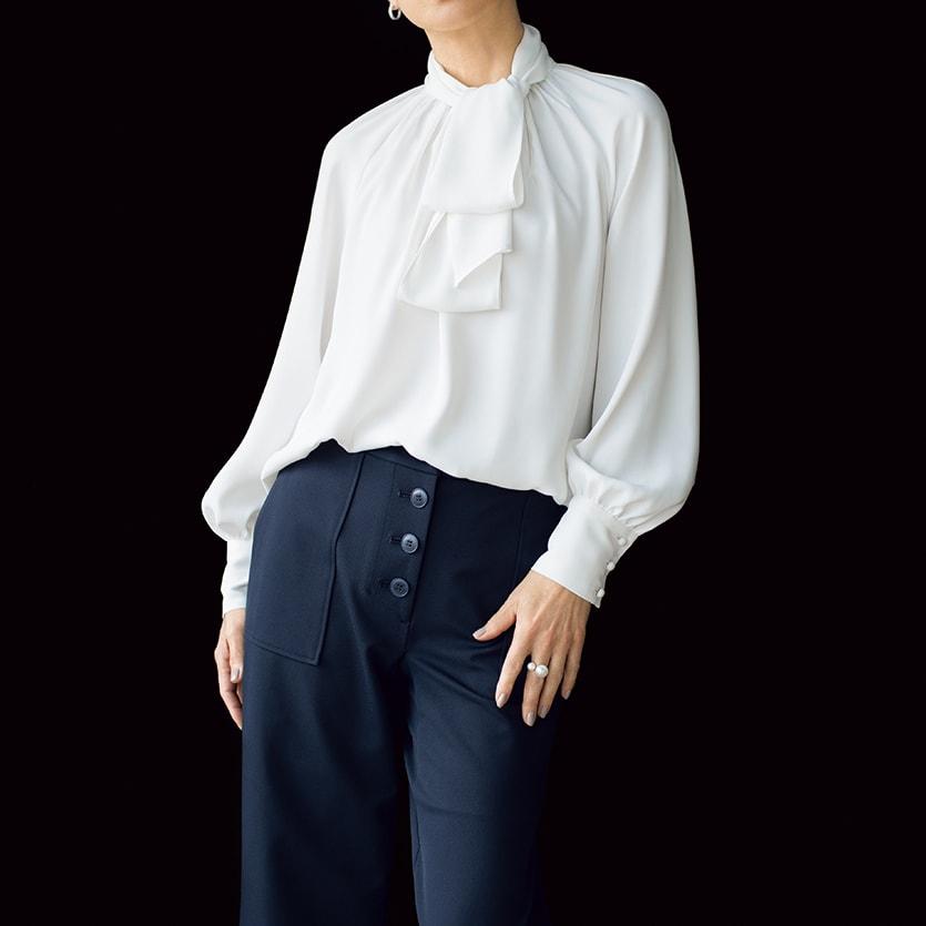 (股下丈63cm)ボタンデザイン ジャージー パンツ コーディネート例