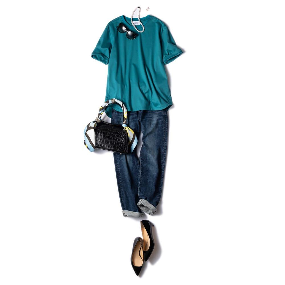STIR/スティア ハイゲージスムース Tシャツ コーディネート例