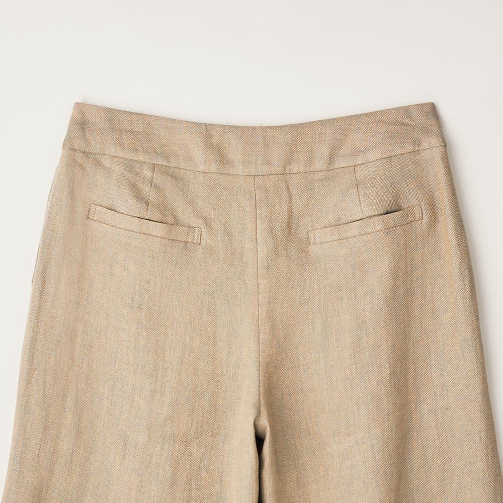 (股下丈68cm)リネンシャンブレー セーラー風 パンツ BACK