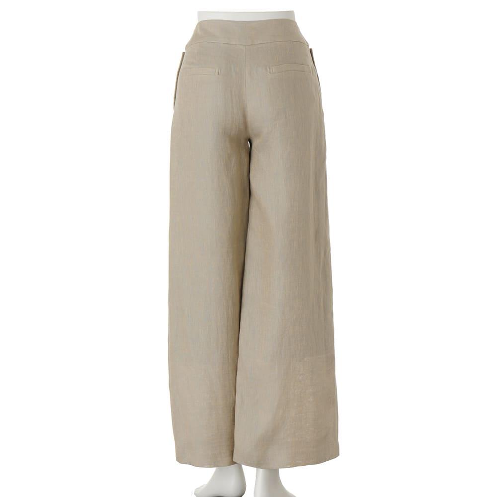 (股下丈68cm)リネンシャンブレー セーラー風 パンツ