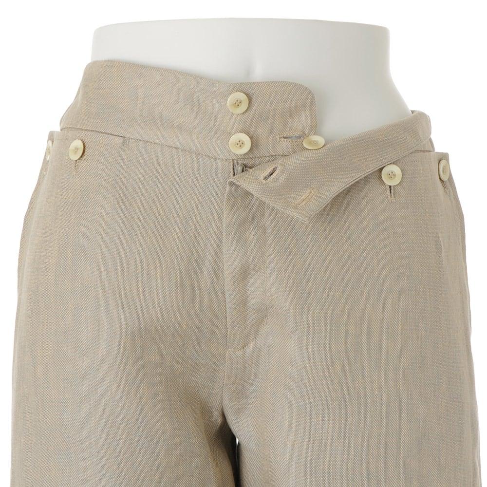 (股下丈74cm)リネンシャンブレー セーラー風 パンツ