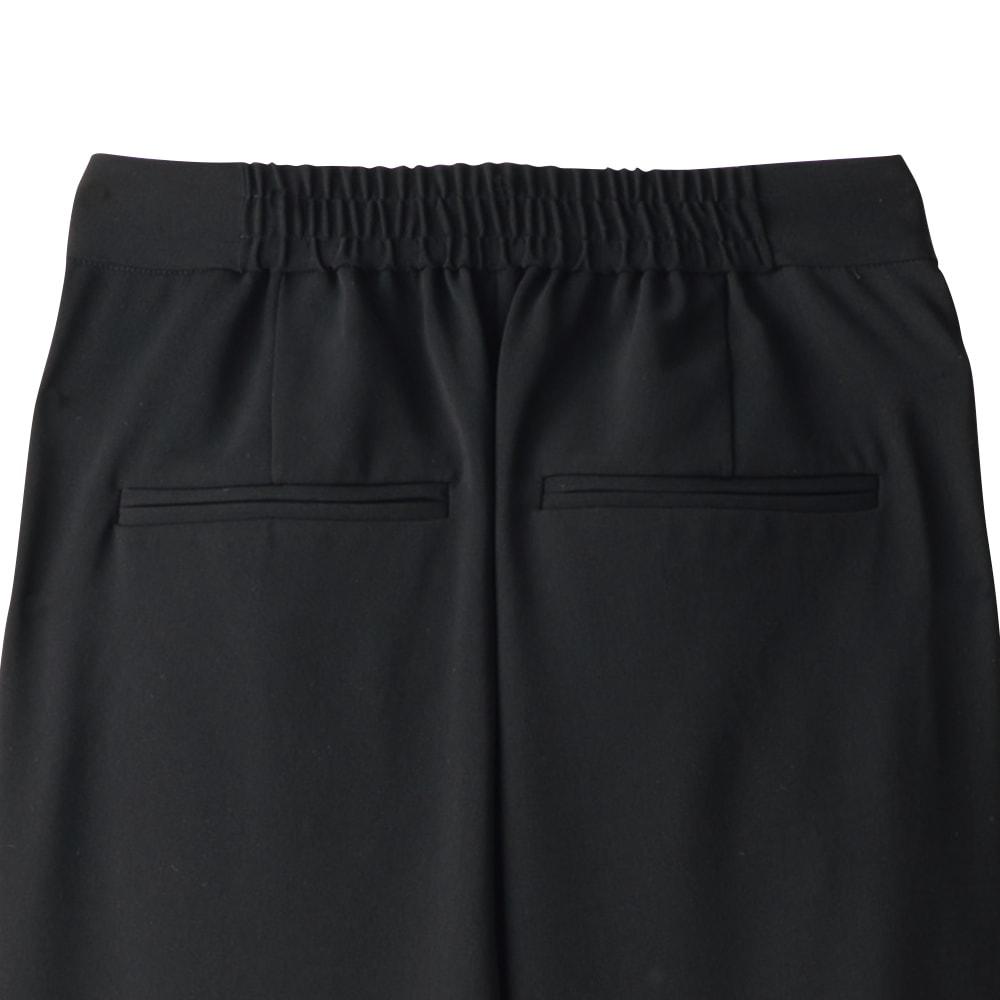 (股下丈68cm)スリットデザイン タックパンツ (イ)ブラック BACK