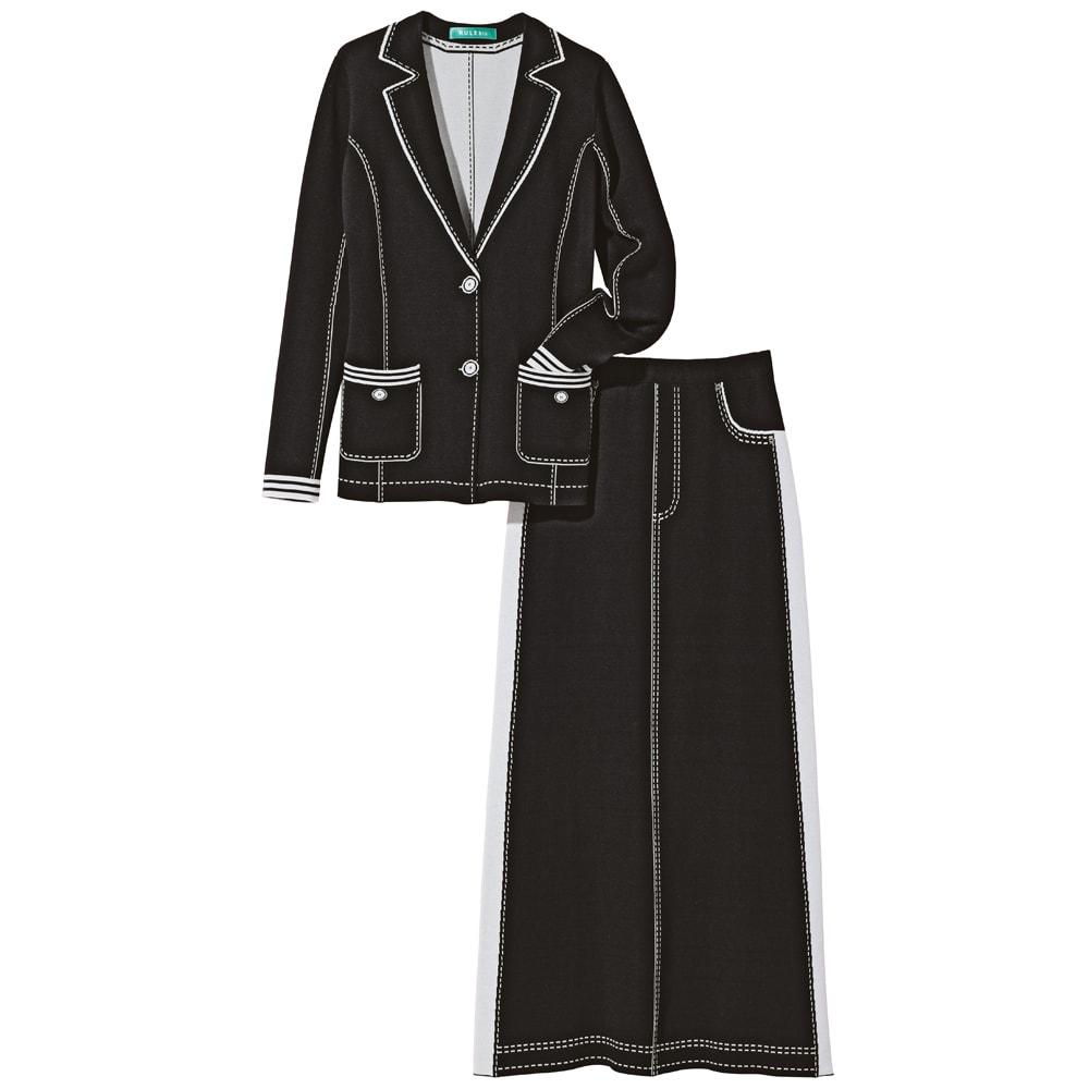 トロンプルイユ(だまし絵) ニットジャケット 上下セットアップで コーディネート例