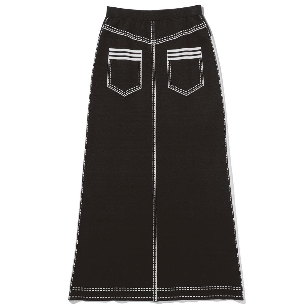トロンプルイユ(だまし絵) ニットロングスカート Back Style