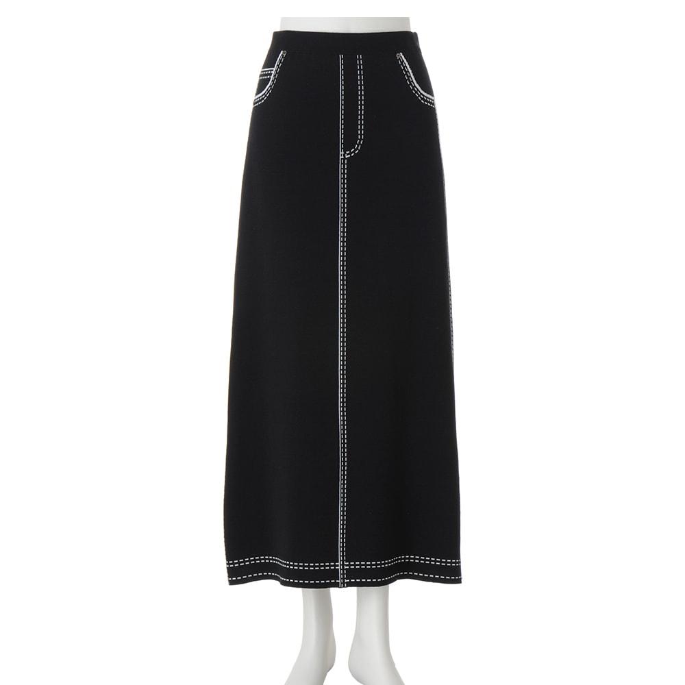 トロンプルイユ(だまし絵) ニットロングスカート