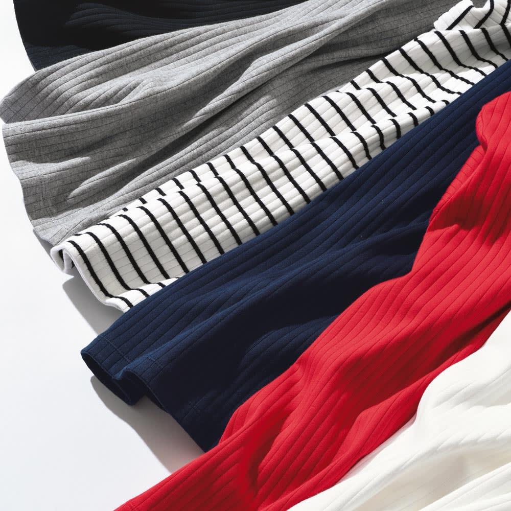 超長綿スビンギザコットン ワイドリブTシャツ 上から(オ)ブラック、(ウ)グレー、ボーダー(ホワイト×ブラック)、(エ)ネイビー、(イ)レッド、ホワイト ※今回、ボーダー(ホワイト×ブラック)、ホワイトの販売はございません。
