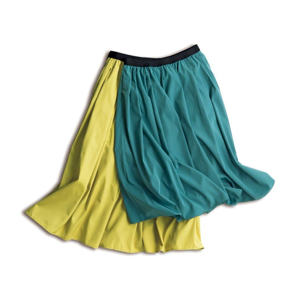 (総丈63cm)TRECODE/トレコード 神戸・山の手スカート 左から(ク)イエロー (キ)グリーン ※丈は右より、63cm、73cmとなります。