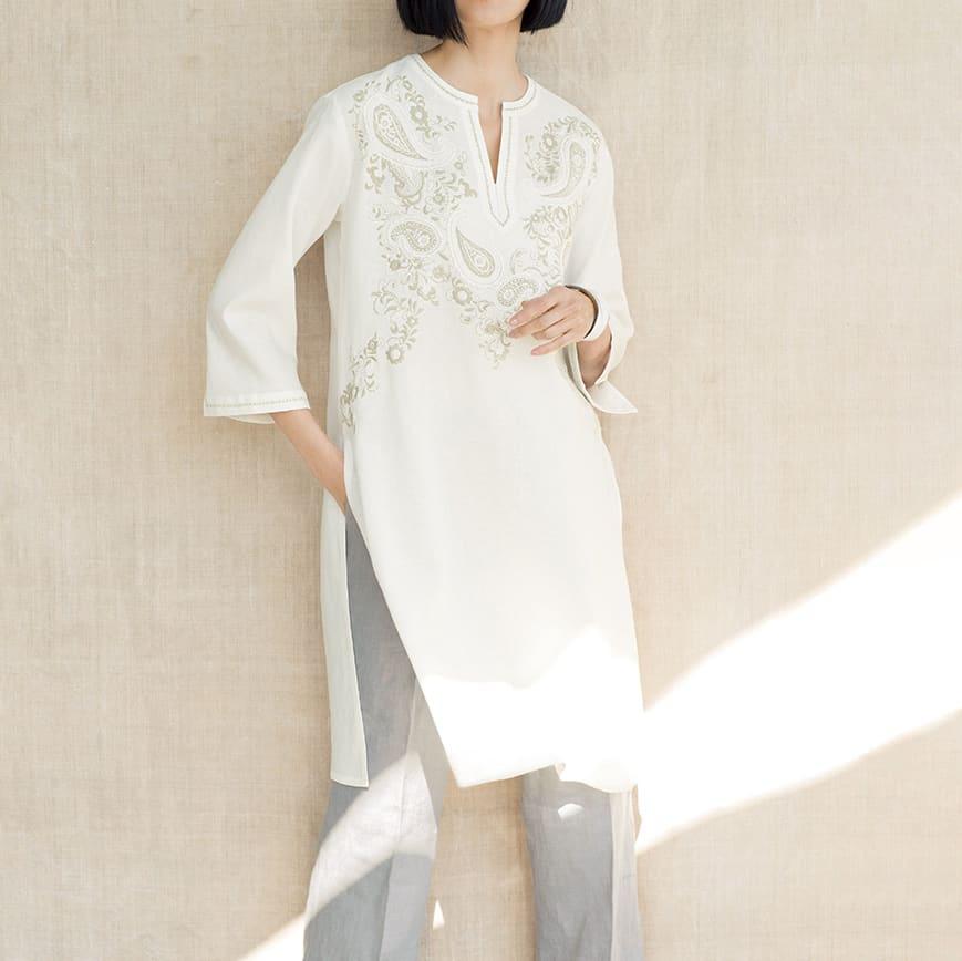 (股下丈75cm)リベコ社 裾ベント入り リネン セミワイドパンツ コーディネート例