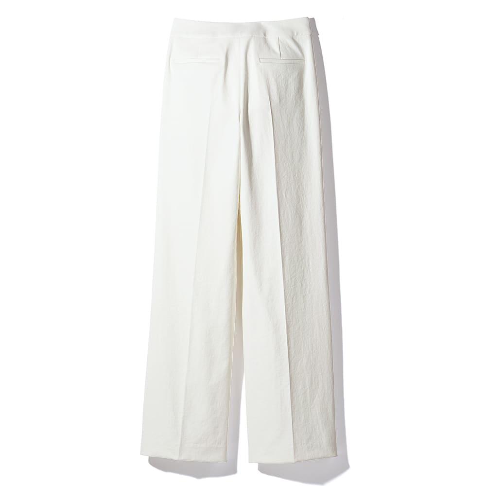 (股下丈68cm)シェルタリングドライ タブベルト付き セミワイドパンツ (ア)オフホワイト BACK