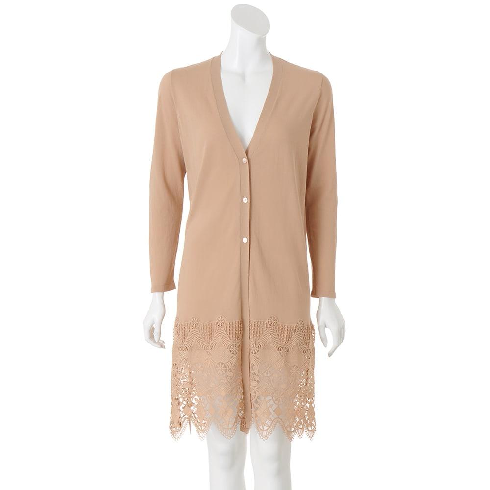 イタリア糸コットン 裾レースロングカーディガン (ア)ピンクベージュ