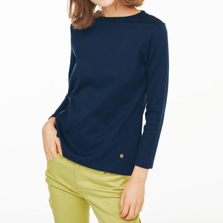 超長綿スビンギザコットン ワイドリブ長袖Tシャツ(サイズS) ネイビー ※今回こちらのお色の販売はございません。参考画像です。今回はブラックのみの販売です