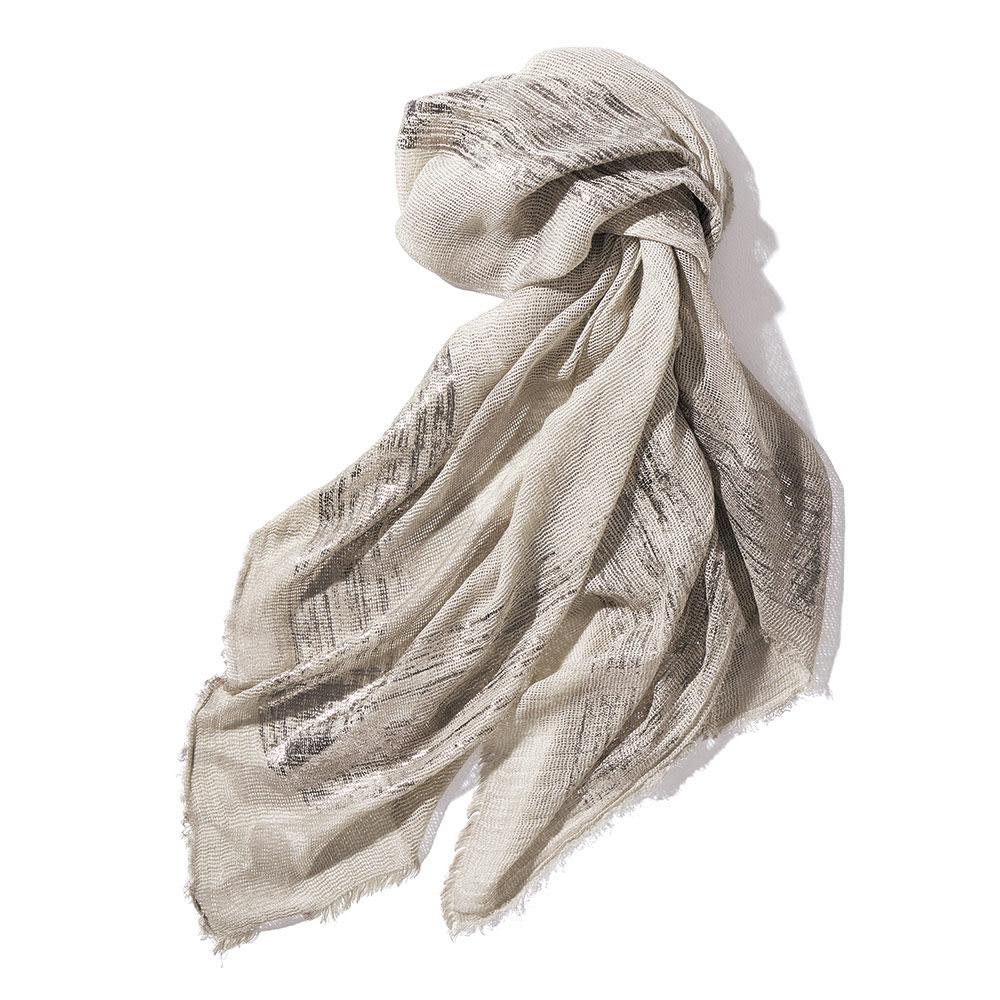 リネン混 バスケット織 箔プリント ストール(イタリア製)