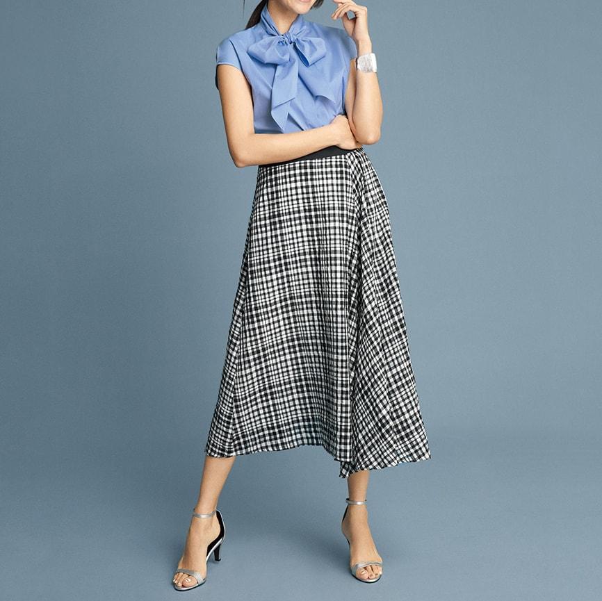 シルク混 ギンガムチェック フレアースカート(サイズ67) コーディネート例