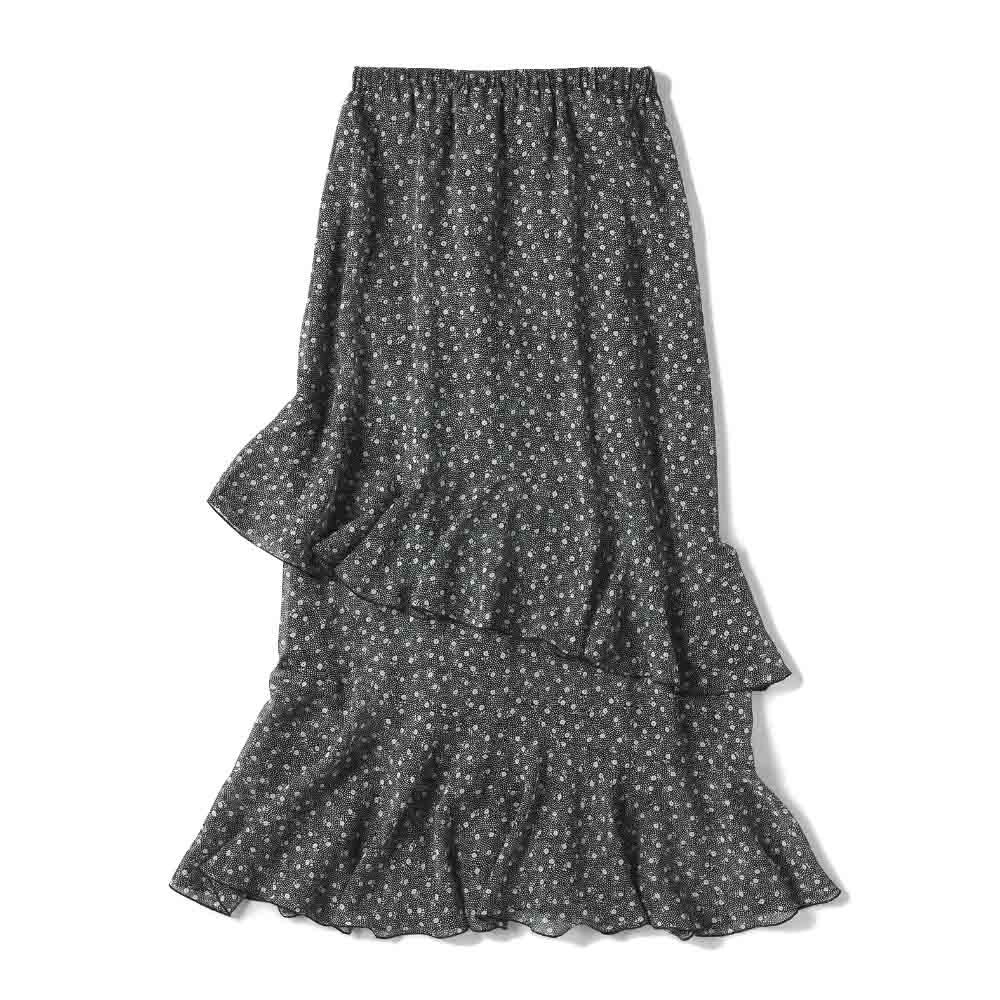 プリント柄 ティアードスカート Back Style