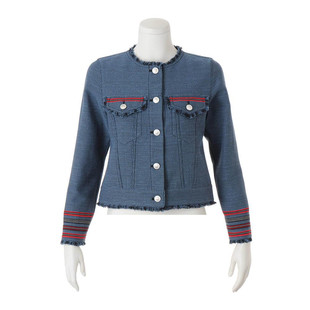 フランス素材 パネルジャカード フリンジ使いジャケット