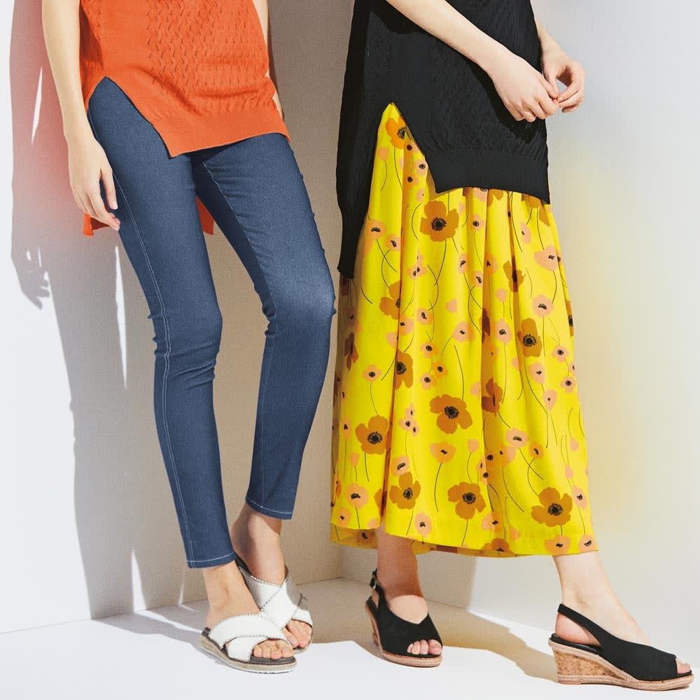フランス素材 フラワープリント フレアスカート (右)フランス素材 フラワープリント フレアスカート コーディネート例