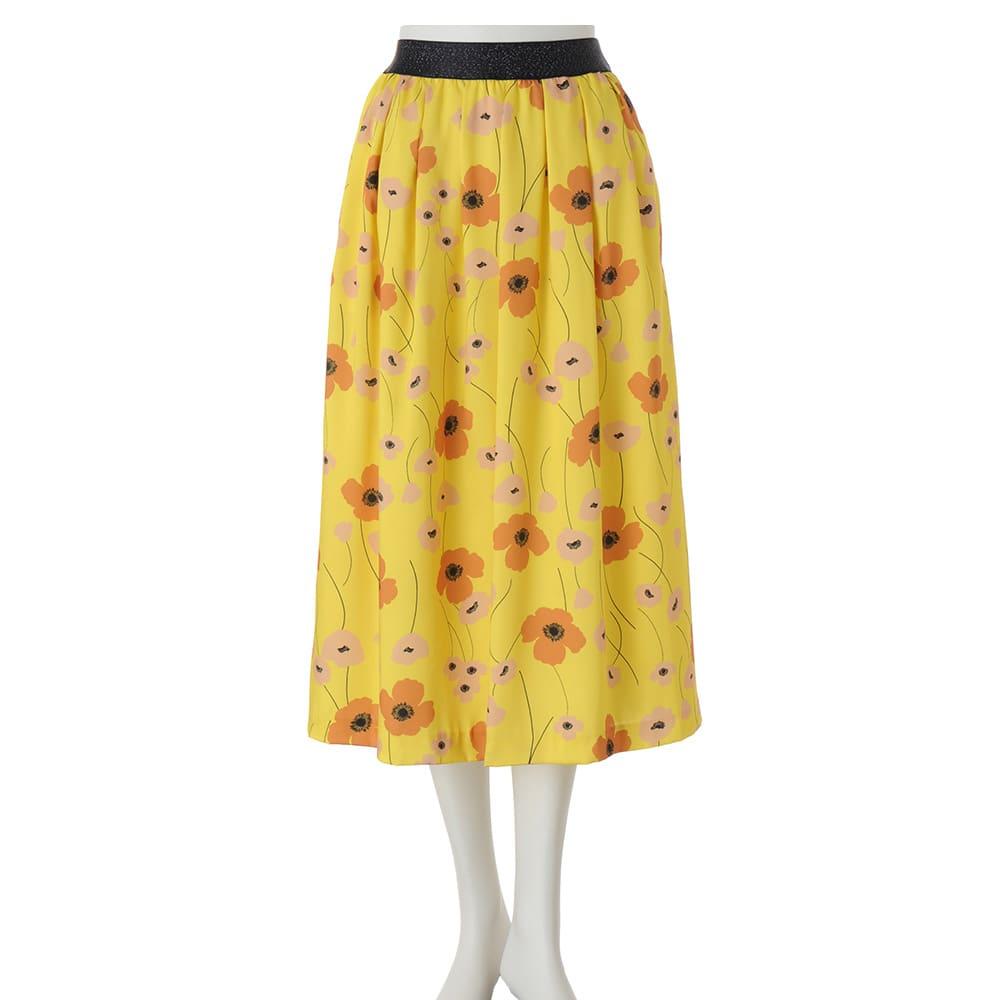フランス素材 フラワープリント フレアスカート