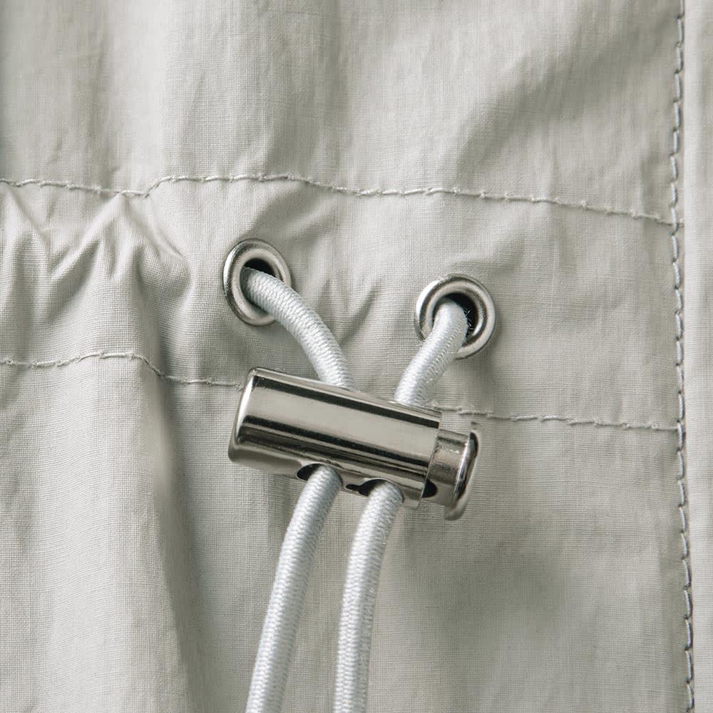 イタリア素材 撥水コーティング ロングコート ドローストリング仕様