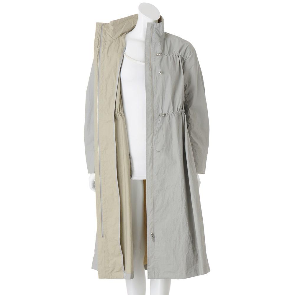 イタリア素材 撥水コーティング ロングコート ウエスト・胸元ドローストリング仕様 ※インナーは含まれません。