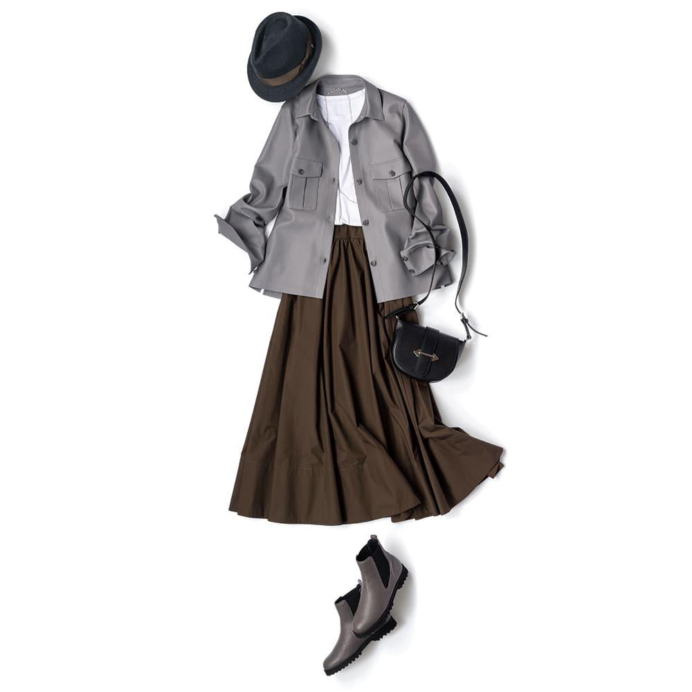 コットン素材 フレアースカート コーディネート例