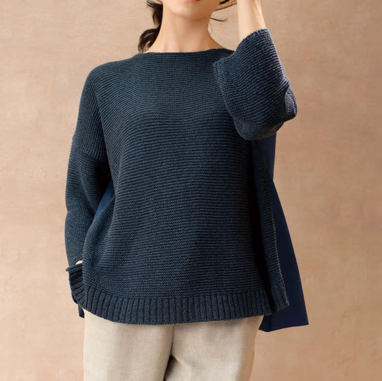 布帛使い ガーター編み プルオーバー コーディネート例