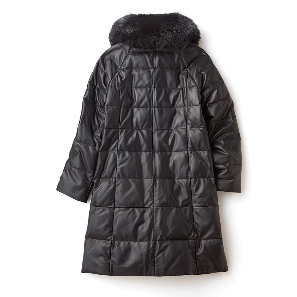 ブルーフォックスファー付き レザーダウンコート Back Style