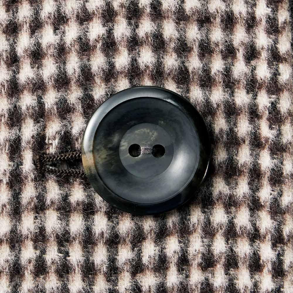 「NIKKE」 カシミヤ ネップツイード リバーシブル コート 千鳥格子面 ボタン部分