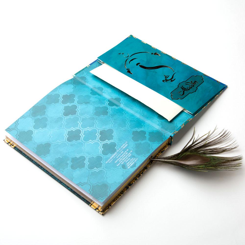 アラジン/フェザー付ノート|ディズニー ミュージカル メモなどを挟んでおけるポケット付き