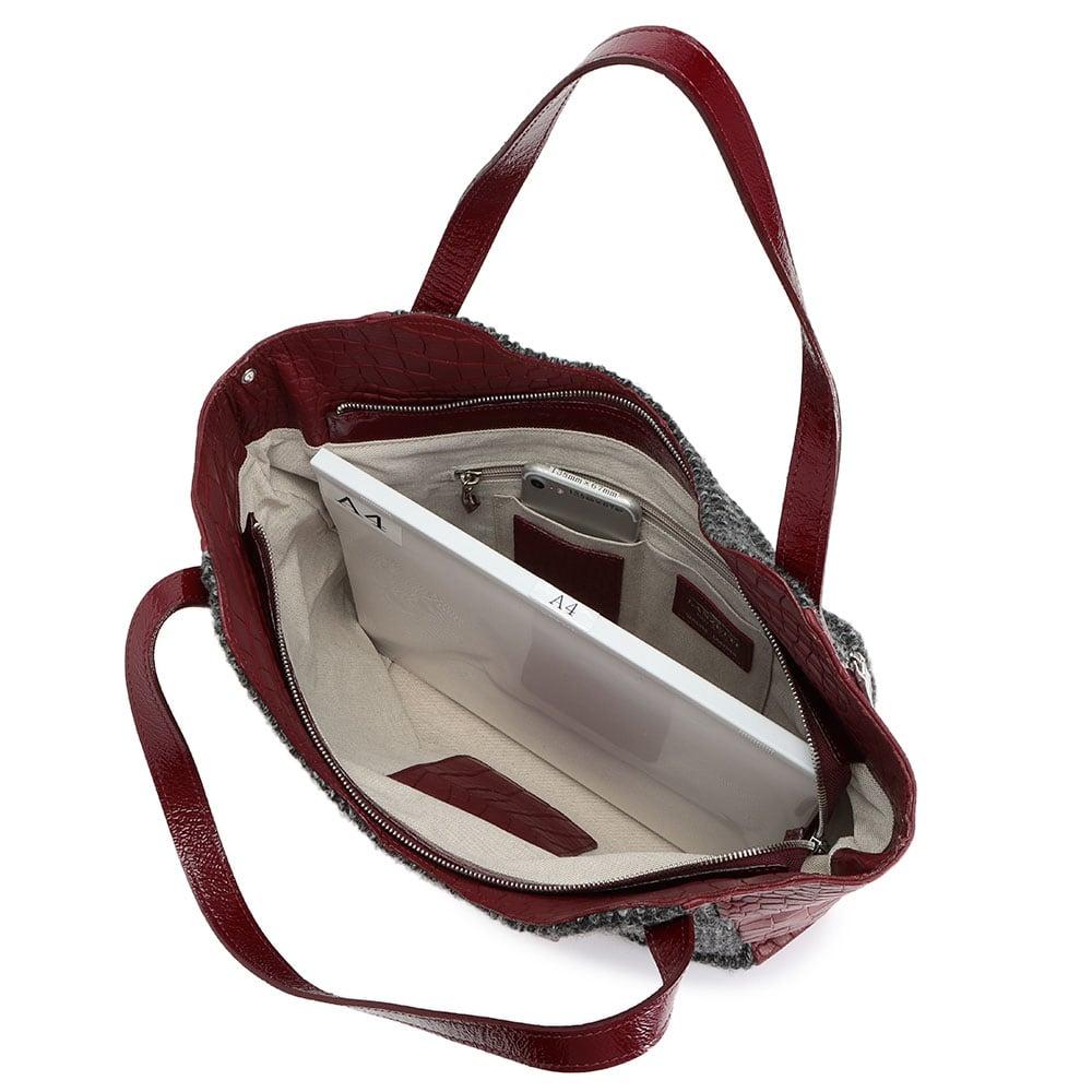 LANZETTI/ランゼッティ 素材コンビ 2WAY バッグ A4横サイズ収納可/138mm×67mmスマートフォン 内ポケット収納可