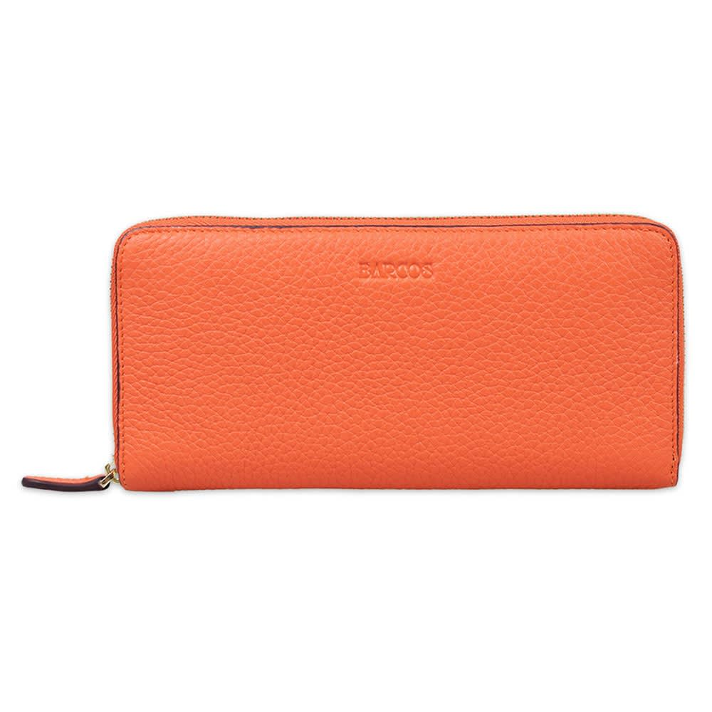 BARCOS/バルコス レザー ラウンドファスナー 長財布 (オ)オレンジ