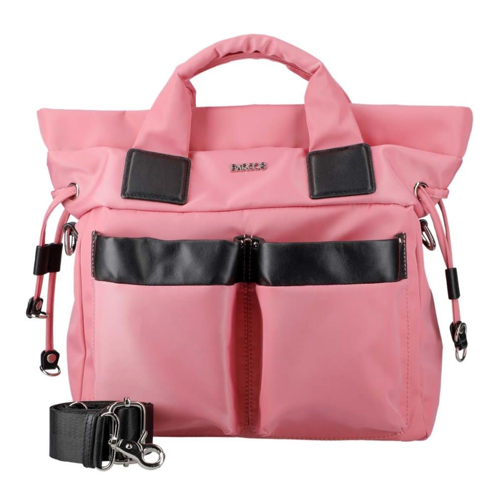 BARCOS/バルコス ナイロン×レザー 3WAY バッグ (キ)ピンク
