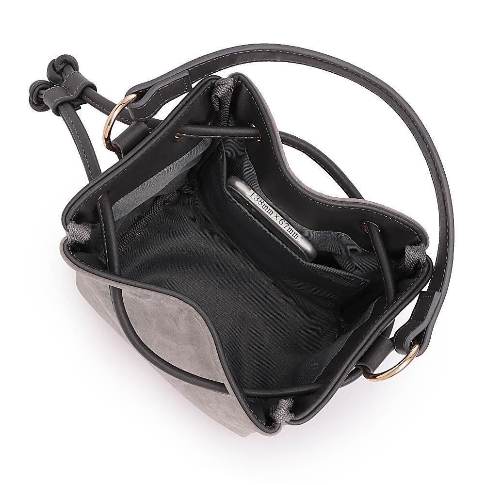 Cachellie/カシェリエ 素材コンビ巾着2WAYバッグ 138mm×67mmスマートフォン内ポケット収納可