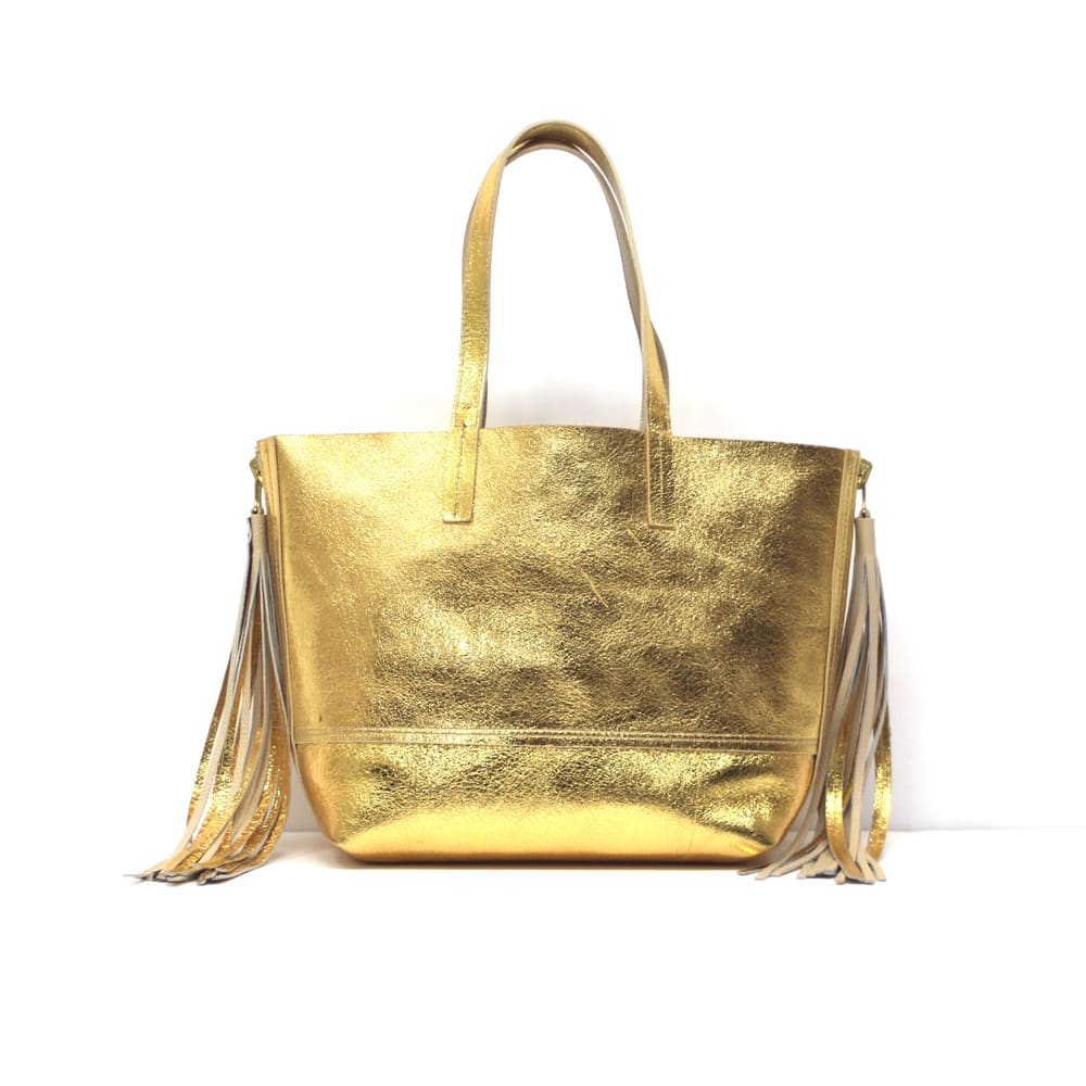 CLAUDIA FIRENZE/クラウディア フィレンツェ リバーシブルトートバッグ(イタリア製) ピンク×ゴールドのゴールド側の色目はこちらとなります。