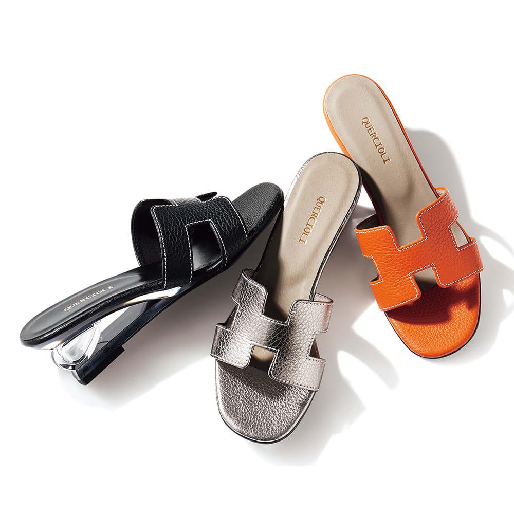 イタリアンレザー クリアーヒール ミュール 左から (ウ)ブラック (ア)ダークシルバー (イ)オレンジ