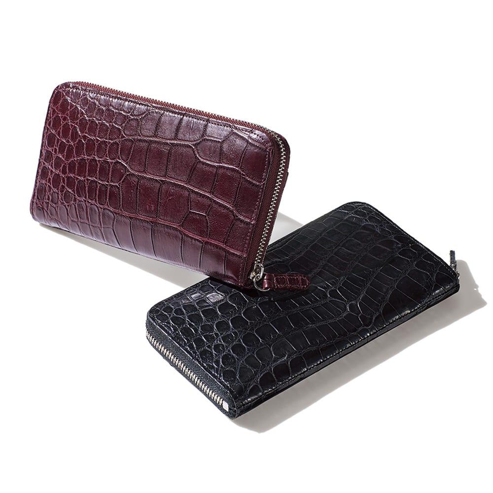 クロコダイル 三方長財布 左から (イ)マットワイン (ア)マットブラック