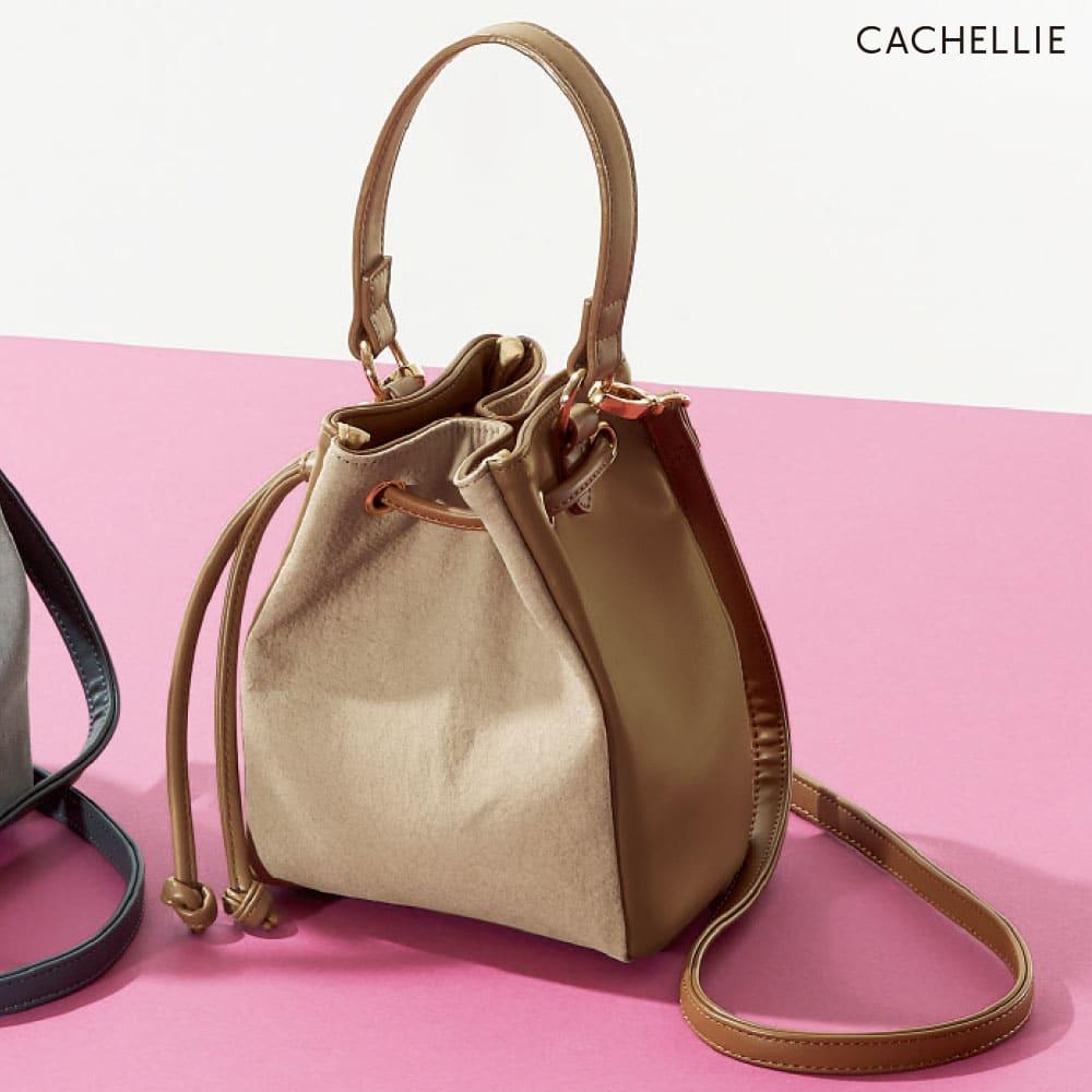 Cachellie/カシェリエ 素材コンビ巾着2WAYバッグ (ア)ベージュ系