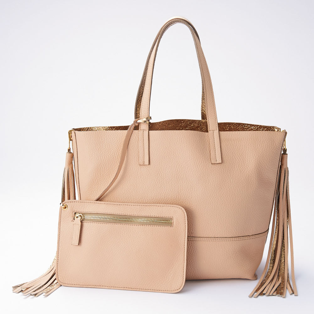 CLAUDIA FIRENZE/クラウディア フィレンツェ リバーシブルトートバッグ(イタリア製) ピンク×ゴールド  ※お届けするポーチにはブランド名の素押しが入ります。