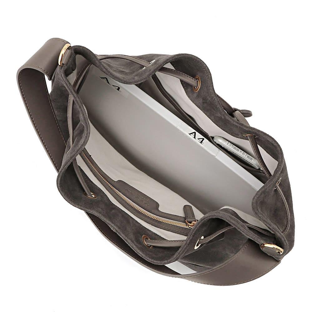 TOSCANI/トスカーニ 巾着 ショルダー 2WAY バッグ(イタリア製) A4横サイズ収納可/ 138mm×67mmスマートフォン 内ポケット収納可