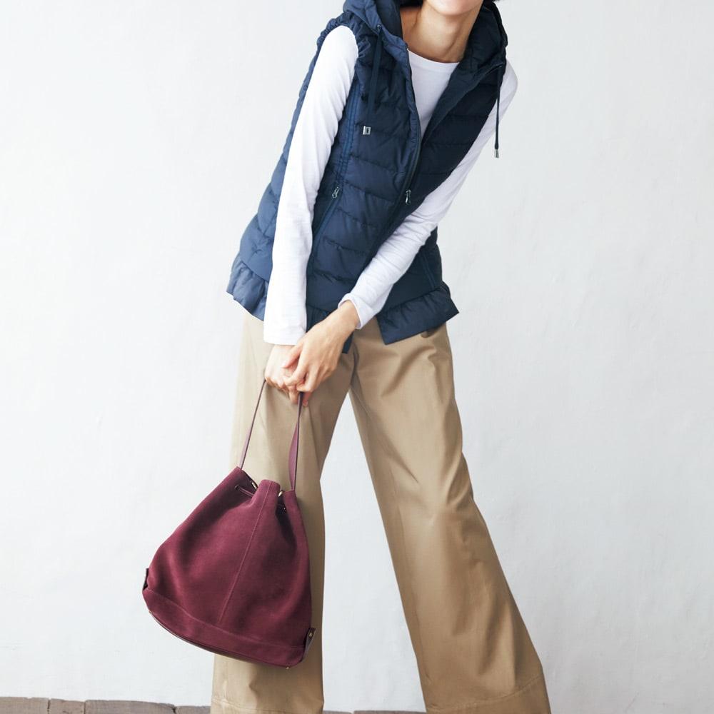 TOSCANI/トスカーニ 巾着 ショルダー 2WAY バッグ(イタリア製) コーディネート例
