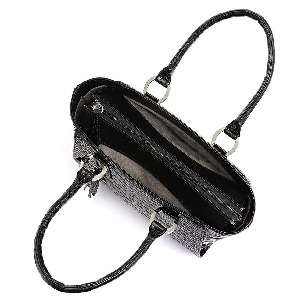 クロコダイル ハンドバッグ ブラック