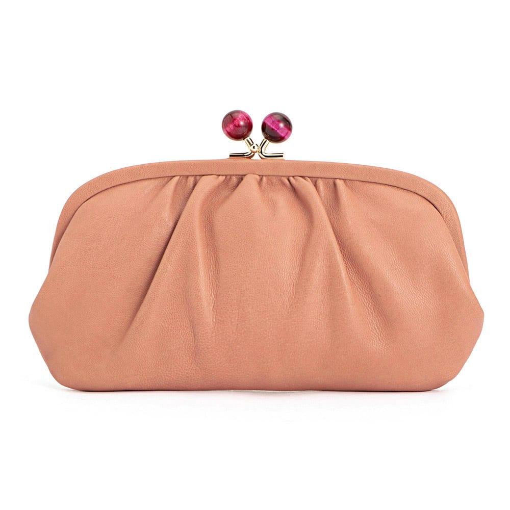 Perche/ペルケ 天然石のがまぐち 羊革お財布クラッチ (エ)ピンク