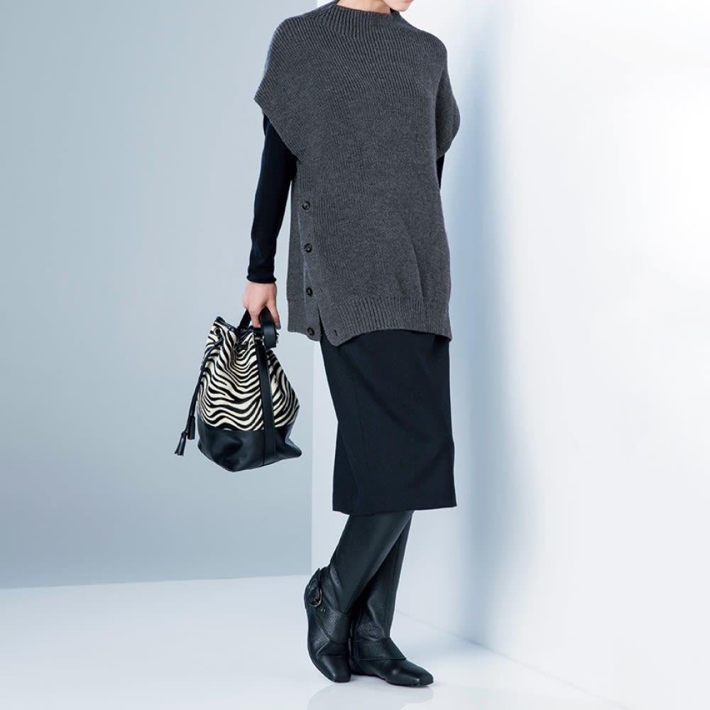 イタリアンレザー 巾着バッグ コーディネート例