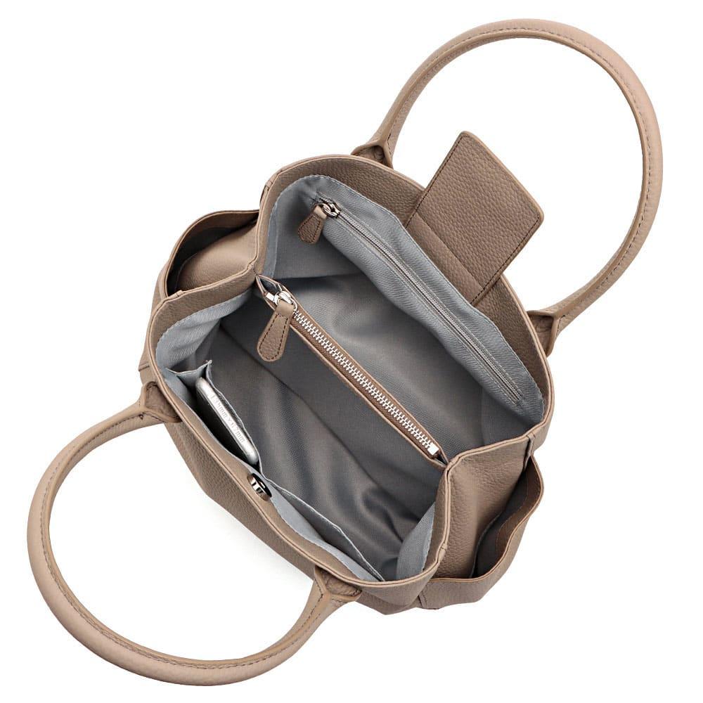 ポケットデザイン レザー トートバッグ 138mm×67mmスマートフォン 内ポケット収納可