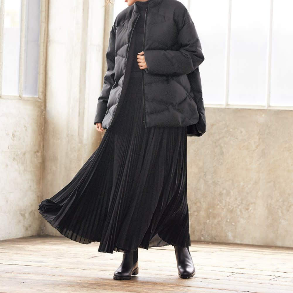 サイドゴア バックファスナー ミドル丈ブーツ (ア)ブラック コーディネート例