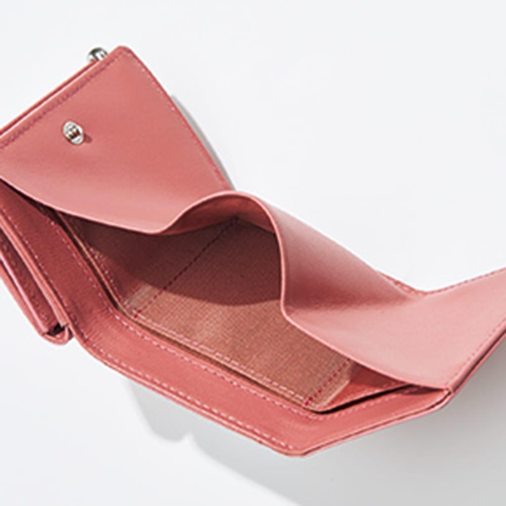 三つ折り コンパクト レザー財布 (カ)ピンク INSIDE