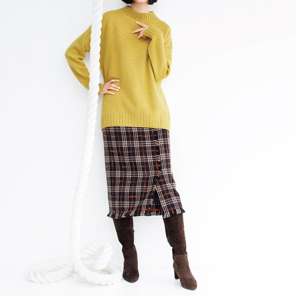 chiaki katagiri/チアキカタギリ ストレッチ レザー ロングブーツ 着用例