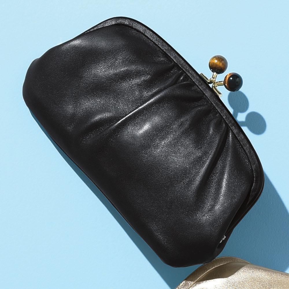 Perche/ペルケ 天然石のがまぐち 羊革お財布クラッチ レディース ブラック/ゴールド/シルバー/ピンク レザーバッグ・革バッグ
