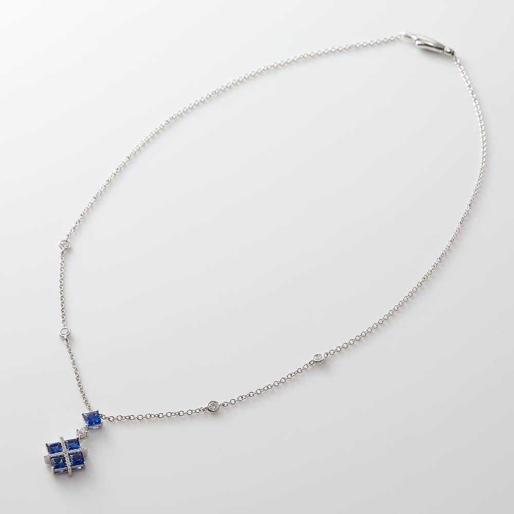 K18WG 1.6ctサファイア ダイヤ ペンダント