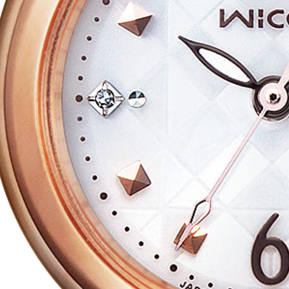 CITIZEN/シチズン WICCA(ウィッカ) ソーラーテック電波時計 KL0-961-11 【有村架純広告着用モデル】 ワンポイントのダイヤモンドとスクエアのインデックス