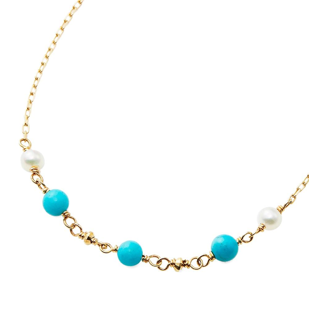 K10 淡水真珠・ターコイズ デザイン ブレスレット